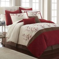Nanshing Blossoms King Comforter Set in Red/Brown