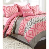 Nanshing Maddy Reversible Twin Comforter Set in Pink