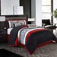 Nanshing Aubrey Reversible Queen Comforter Set in Black/Red