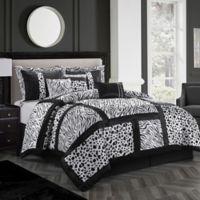 Nanshing Amazon Full Comforter Set in Black/White