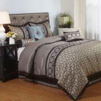Nanshing Linx Full Comforter Set in Brown