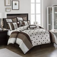 Nanshing Grayson Reversible Queen Comforter Set in Brown/Taupe