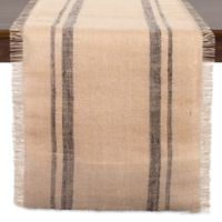 Design Imports Burlap 72-Inch Double Border Table Runner in Mineral