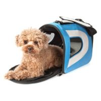 Airline Approved Sporty Folding Zippered Mesh Medium Pet Carrier in Blue/Grey