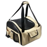 Ultra-Lock Collapsible Wire Folding Pet Car Seat in Khaki