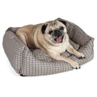 Medium Rectangular Dog Bed in Brown/Blue