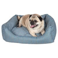 Large Rectangular Dog Bed in Blue Plaid