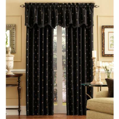 Celeste 108 Inch Rod Pocket/Back Tab Window Curtain Panel In Black
