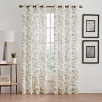 Floral Burnout Sheer 84-Inch Grommet Window Curtain Panel in Natural