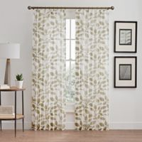 Floral Burnout Sheer 108-Inch Pinch Pleat Window Curtain Panel in Natural
