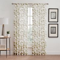 Floral Burnout Sheer 84-Inch Rod Pocket/Back Tab Window Curtain Panel in Natural