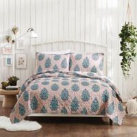 Jessica Simpson Ramos Floral Twin/Twin XL Quilt Set in Coral