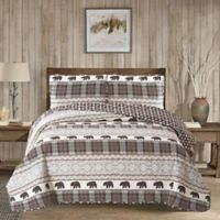 Harper Lane Grizzly Reversible King Quilt Set in Grey