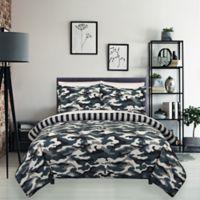 Camo Reversible Full/Queen Comforter Set in Green/Tan