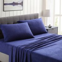 Morgan Home Ultra Plush Fleece Solid Twin Sheet Set in Dark Blue