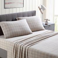 Morgan Home Ultra Plush Fleece Plaid King Sheet Set in Taupe