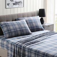 Morgan Home Ultra Plush Fleece Plaid Queen Sheet Set in Blue/Grey