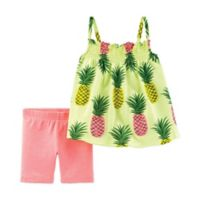 carter's® Size 12M 2-Piece Pineapple Dress and Short Set in Yellow