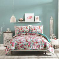 Jessica Simpson Floral Trellis Reversible Full/Queen Comforter Set in Pink