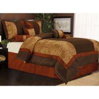Nanshing Sibyl King Comforter Set in Red/Brown