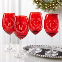 Christmas Wreath Monogram Crystal Wine Glass