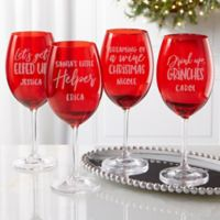 Drink Up! Christmas Engraved Crystal Wine Glass