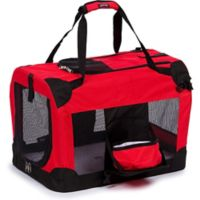 Folding Deluxe 360-Degree Vista View Medium Pet Crate in Red