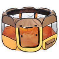 All-Terrain Medium Collapsible Travel Pet Playpen in Brown/Orange