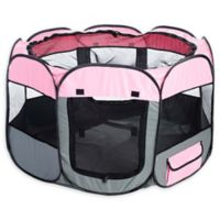 All-Terrain Medium Collapsible Travel Pet Playpen in Pink/Grey