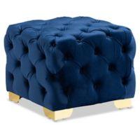 Baxton Studio Lety Velvet Ottoman in Royal Blue/Gold