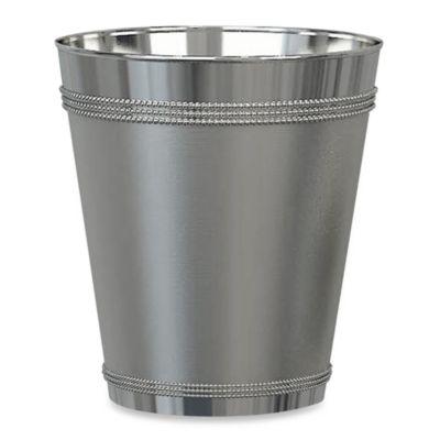 Beaded Metallic Wastebasket In Stainless Steel