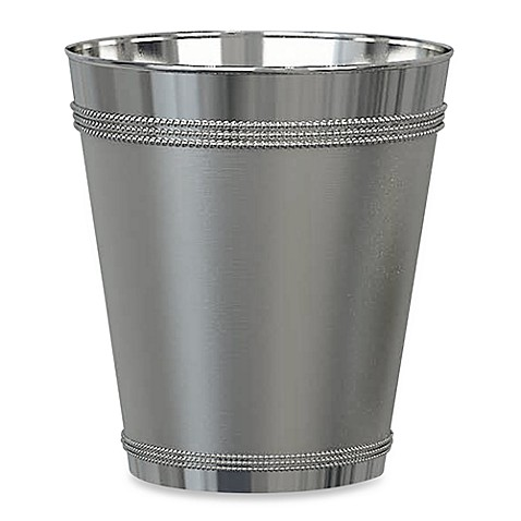 beaded metal wastebasket in stainless steel bed bath beyond. Black Bedroom Furniture Sets. Home Design Ideas