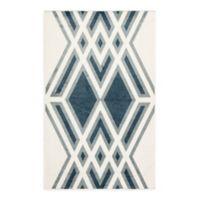 Nikki Chu Tasma Geometric 2' x 3' Indoor/Outdoor Accent Rug in White/Blue