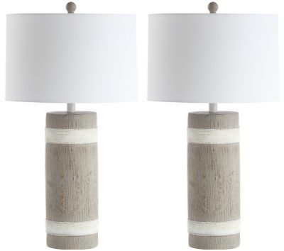 Safavieh Brixton Table Lamps In Brown/White With Off White Cotton Shade (Set