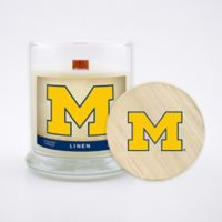 University of Michigan 8 oz. Linen Candle with Wood Lid