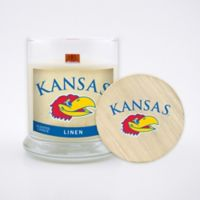 University of Kansas 8 oz. Linen Candle with Wood Lid