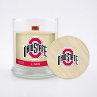 Ohio State University 8 oz. Linen Candle with Wood Lid