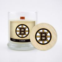 NHL Boston Bruins 8 oz. Linen Candle with Wood Lid
