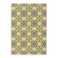 Oriental Weavers Caspian 1-Foot 9-Inch x 3-Foot 9-Inch Indoor/Outdoor Rug in Ivory/Green