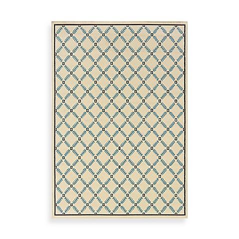 Oriental Weavers Caspian Ivory Blue Lattice Indoor Outdoor