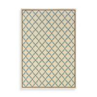 Oriental Weavers Caspian Ivory/Blue Lattice 2-Foot 5-Inch x 4-Foot 5-Inch Indoor/Outdoor Rug