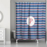 Designs Direct Nautical Stripes Shower Curtain in Red