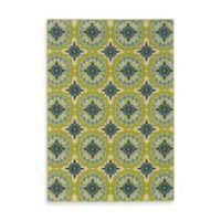 Oriental Weavers Caspian Green/Blue Medallion 2-Foot 3-Inch x 7-Foot 6-Inch Indoor/Outdoor Rug
