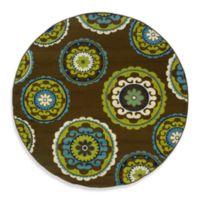 Oriental Weavers Caspian 7-Foot x 10-Inch Round Indoor/Outdoor Rug in Brown