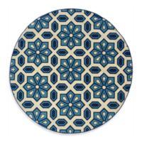 Oriental Weavers Caspian Crystal 7-Foot 10-Inch Round Indoor/Outdoor Rug in Blue