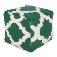 Surya Montijo POUF Ottoman in Deep Sea Green/Winter White
