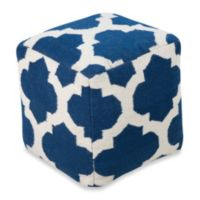 Surya Montijo POUF Ottoman in Dark Blue/Winter White