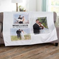 Wedding 3 Photo Collage Personalized 60x80 Fleece Blanket