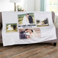 Wedding 4 Photo Collage Personalized 60x80 Fleece Blanket