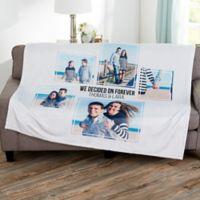 Wedding 5 Photo Collage Personalized 50x60 Fleece Blanket